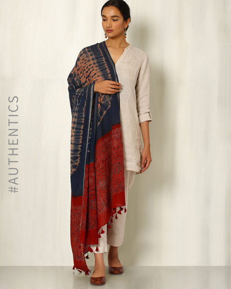 Ajrak Handblock Print Shibori Cotton Dupatta By Indie Picks ( Indigo ) - 460045103001