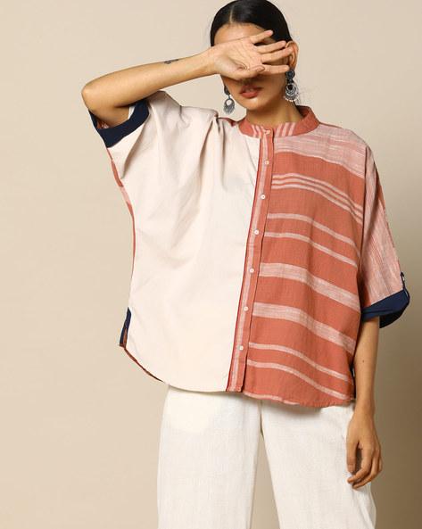 Handloom Cotton Half & Half Shirt With Kimono Sleeves By Free Living ( White )