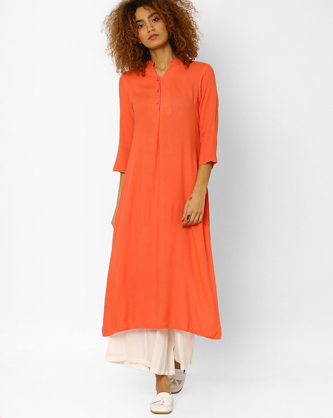 Straight Kurta With Button Placket By Juniper ( Peach )