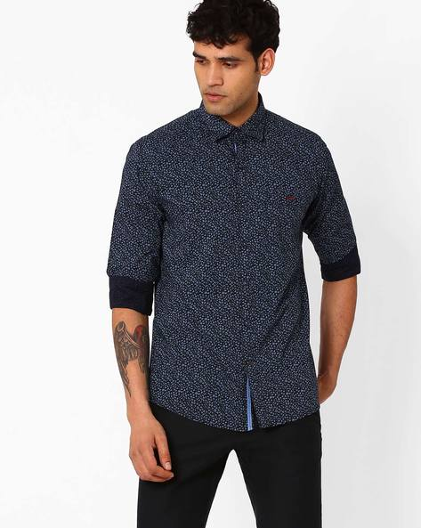 Floral Print Slim Shirt By CRIMSOUNE CLUB ( Navy )