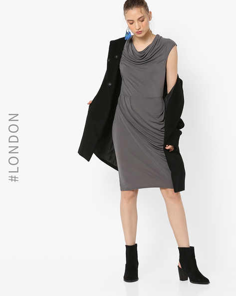 Cowl-Neck Sheath Dress By Closet London ( Grey )