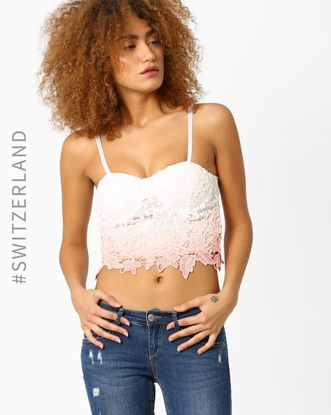 Floral Crochet Bralette Top By TALLY WEiJL ( Pink )