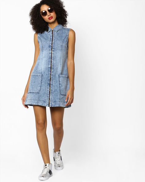 Zip-Front Sleeveless Shift Dress By Ginger By Lifestyle ( Lightblue )