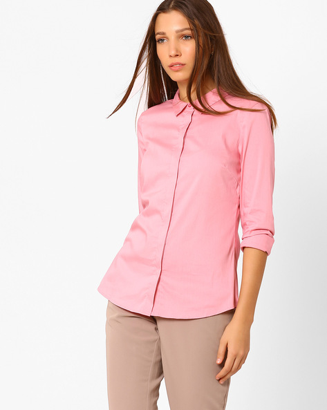 Classic Shirt With Concealed Button Placket By Vero Moda ( Lightpink )