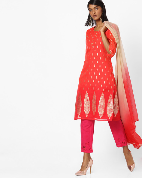 Printed Kurta With Dupatta By AVAASA SET ( Orange )