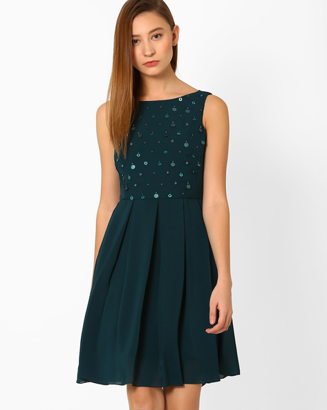 Fit & Flare Dress With Embellished Bodice By AJIO ( Green )
