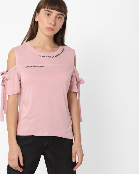 Cold-Shoulder Top With Sleeve Tie-Ups By DNMX ( Pink )