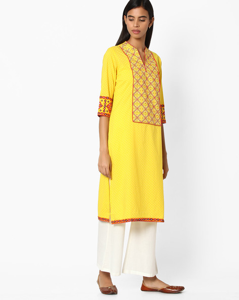 Straight Kurta With Embroidery By Jiyaa ( Yellow )