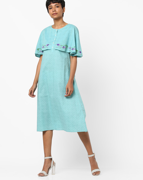 Printed Midi Cape Dress By AJIO ( Teal )