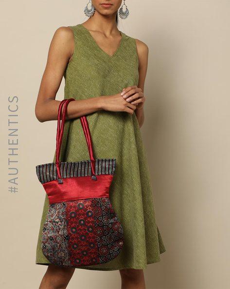 Ajrak Handblock Print Mashru Tote Bag By Indie Picks ( Multi ) - 460176194001