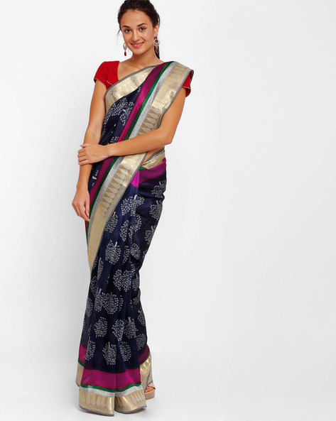 Printed Art Silk Saree By Diva Fashion ( Navyblue )