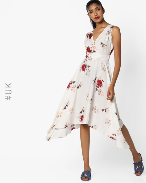 Fit & Flare Dress With Surplice Neckline By INFLUENCE ( Cream )