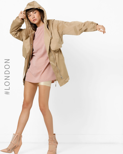 Hooded Front-Zip Parka With Pockets By Glamorous ( Beige )