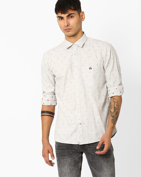 Slim Fit Shirt With Patch Pocket By CRIMSOUNE CLUB ( Ltgrey )