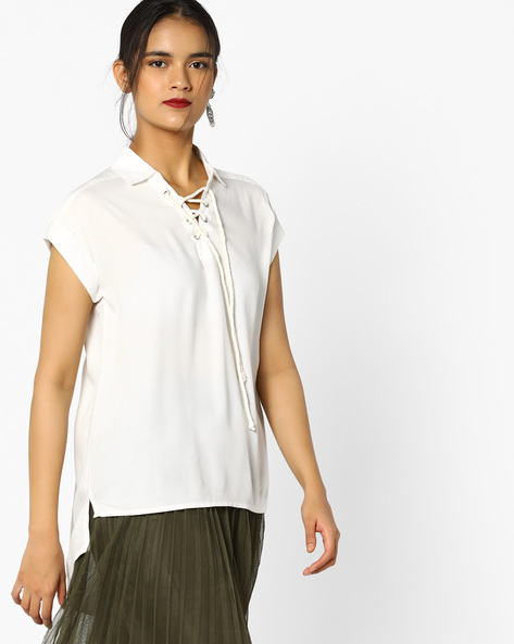 Classic High-Low Top With Tie-Up By Project Eve WW Casual ( Offwhite )