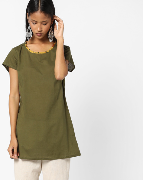 Straight Kurti With Printed Neckline By AJIO ( Olive )