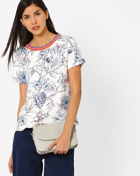 Floral Print Crew-Neck Top By Only ( White )