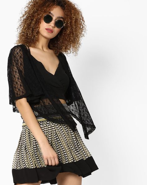 Floral Lace Waterfall Shrug By And ( Black )