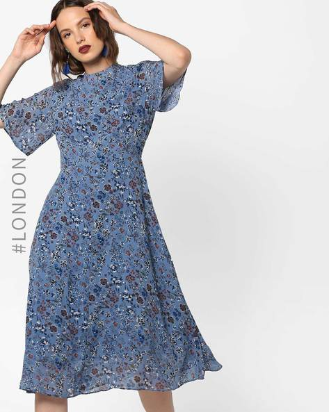 Floral Print Midi Dress With Flared Sleeves By Glamorous ( Blue )
