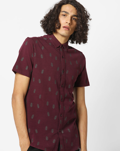 Bug Print Pique Knit Shirt With Spread Collar By AJIO ( Purple )