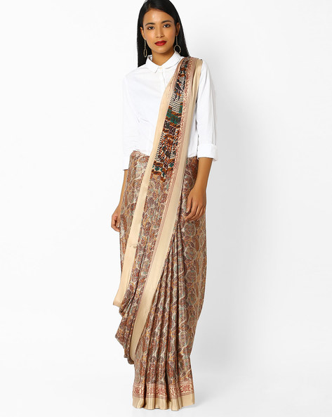 Floral Printed Saree With Contrast Border By Majestic Silk ( Beige )
