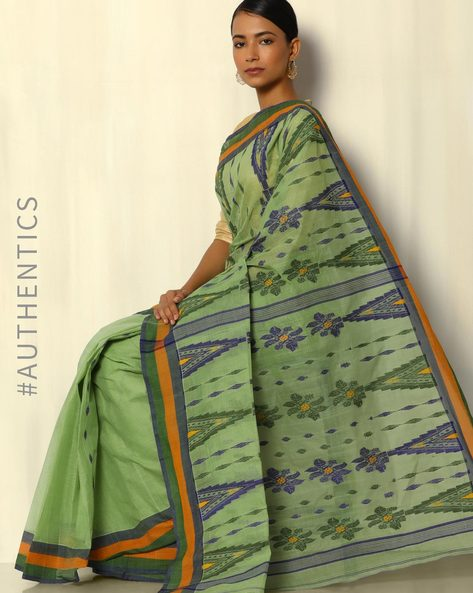 Bengal Handloom Tant Tangail Cotton Jacquard Saree By Indie Picks ( Green )