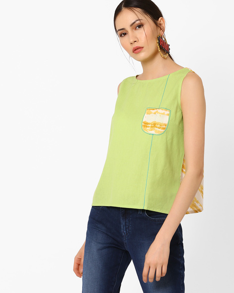Top With Overlapping Back By AJIO ( Limegreen )