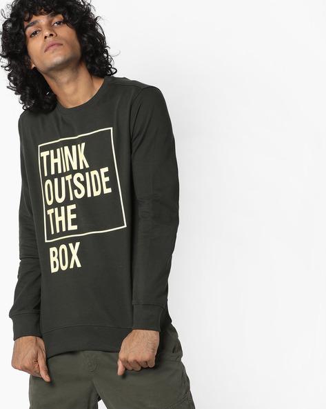 Typographic Print Sweatshirt By AJIO ( Olive )