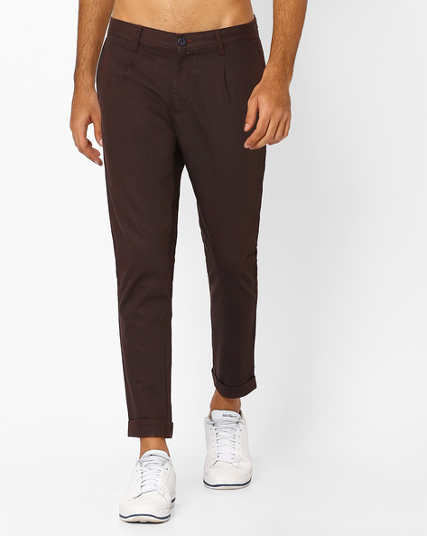 Tapered Fit Cropped Trousers By ANTIFERRO ( Maroon )