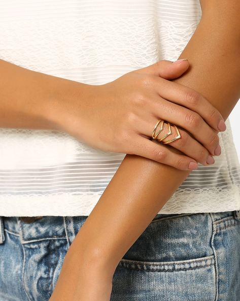 Brass Statement Ring By AJIO ( Gold ) - 460022042001