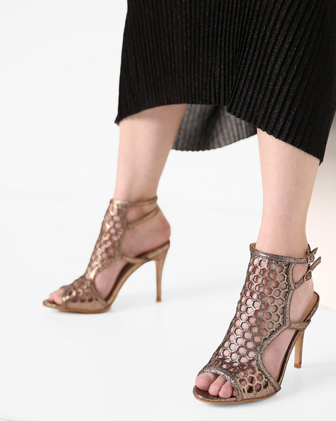 Peep-Toe Stilettos With Cutouts By AJIO ( Rosegold )