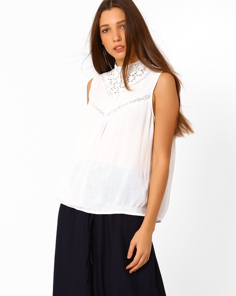 Sleeveless Top With Lace By Vero Moda ( White )
