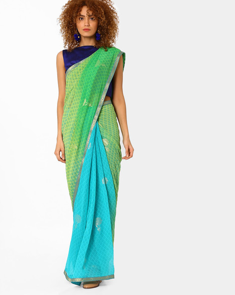Floral Print Saree With Contrast Border By Arissa ( Green )