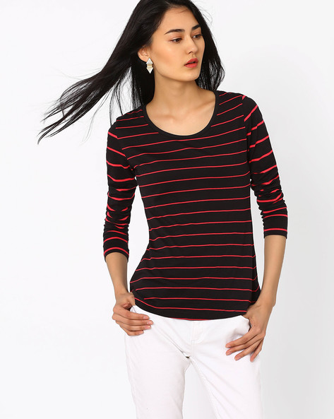 Striped T-shirt With Full Sleeves By TEAM SPIRIT ( Black )