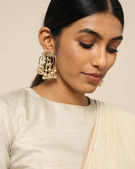 Gold Brass Jhumkas With Pearl Drops By Spargz ( Gold )