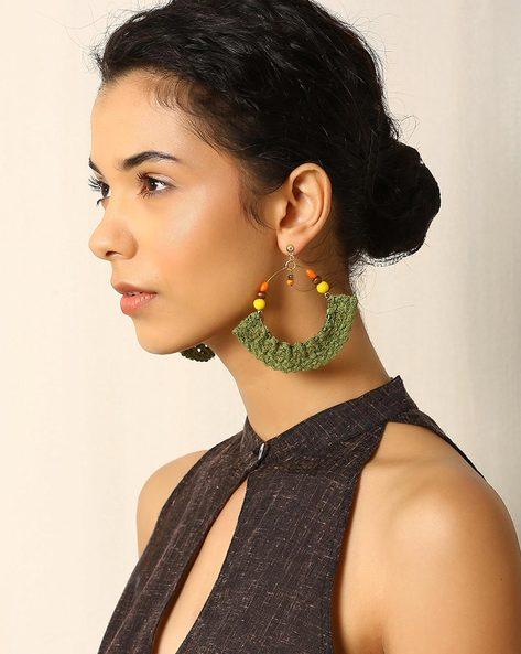 Glass Beaded Cotton Crochet Drop Earrings By Indie Picks ( Green )