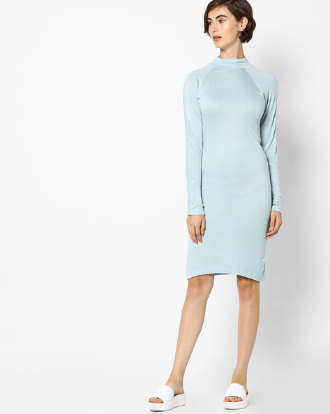 High-Neck Bodycon Dress By AJIO ( Blue )