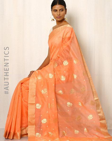 Handwoven Pure Silk Cotton Chanderi Saree By Indie Picks ( Peach )