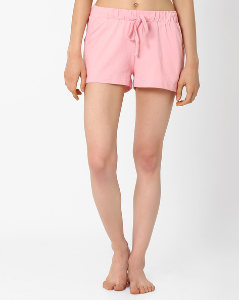 Lounge Shorts With Drawstring Waist By AJIO ( Lightpink )