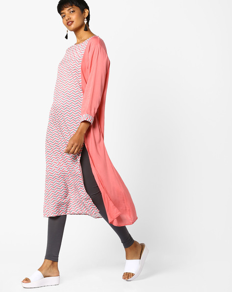 Chevron Print Straight Kurta By Project Eve IW Casual ( Babypink )