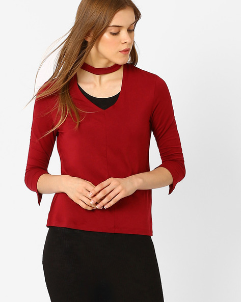 Knitted Top With Band Collar By AJIO ( Red )