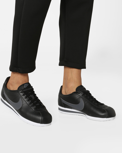 Classic Cortez Leather Sneakers By NIKE ( Black )