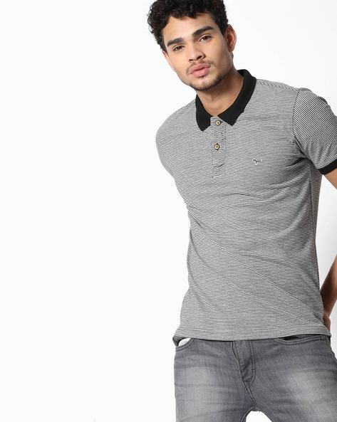 Slim Fit Striped Polo T-shirt By FLYING MACHINE ( Grey )