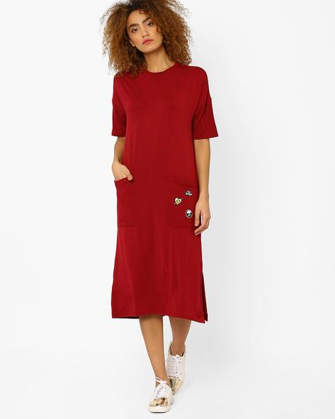 Longline Dress With Side Slits By AJIO ( Red )