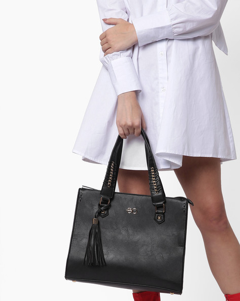 Chain Weave Tote Bag With Tassel By E2O ( Black )