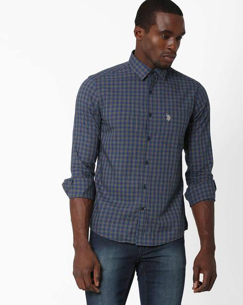 Tailored Fit Checked Shirt By US POLO ( Navy ) - 460036162005