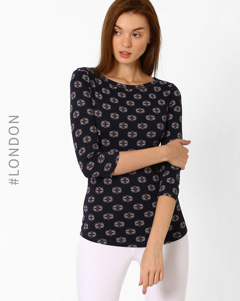 Floral Print Top With Curved Hemline By Marks & Spencer ( Navyblue )