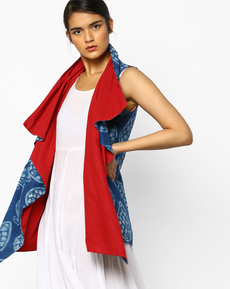 Block Print Waterfall Shrug By PE IW Fusion ( Indigo )