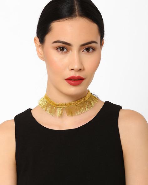 Fringe Choker Necklace By Pipa Bella ( Gold )