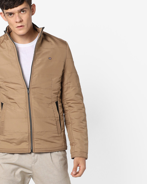 Slim Fit Quilted Jacket By Fort Collins ( Khaki )